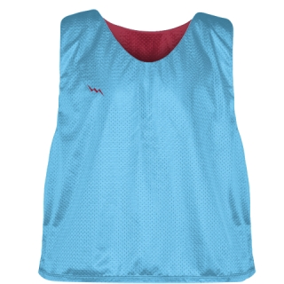 Pinnies - Lacrosse Pinnie Powder Blue Cardinal Red - Youth Adult Mesh Jerseys