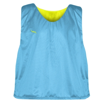 Pinnies - Lacrosse Pinnie Powder Blue Yellow - Youth Adult Mesh Jerseys