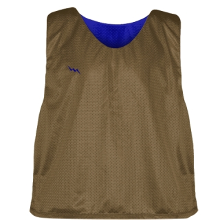 Lacrosse Pinnie Brown Royal Blue - Youth Adult Reversible Mesh Jerseys