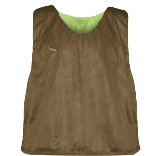 Lax Pinnie Brown Green - Mens Boys Lacrosse Practice Jerseys