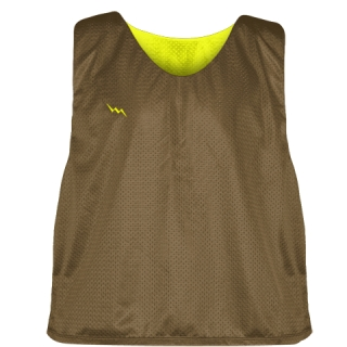 Lax Pinnie Brown Yellow - Mens Boys Lacrosse Practice Jerseys