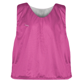 Hot Pink Silver Lacrosse Pinnies - Lax Pinnies
