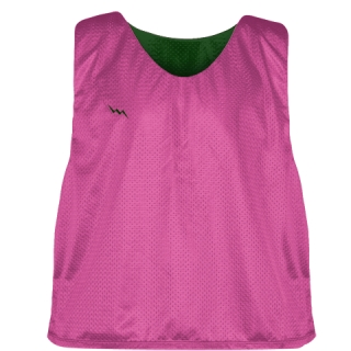 Hot Pink Forest Green Lacrosse Pinnies - Lax Pinnies