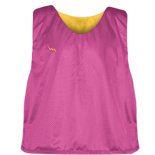 Hot Pink Gold Lacrosse Pinnies - Lax Pinnies