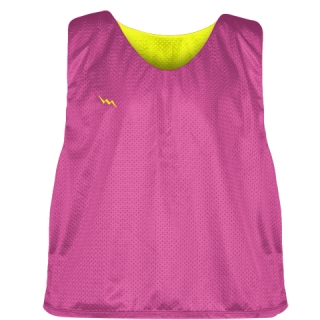 Hot Pink Yellow Lacrosse Pinnies - Lax Pinnies