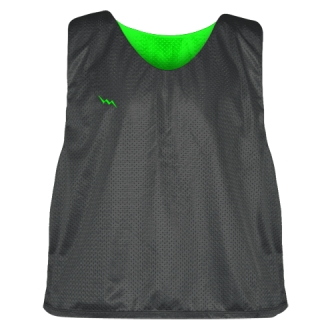 Charcoal Gray Neon Green Lacrosse Pinnies - Lax Pinnies