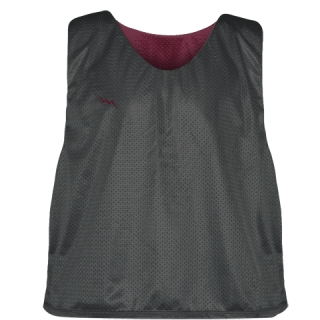 Charcoal Gray Maroon Lacrosse Pinnies - Lax Pinnies