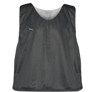 Charcoal Gray Silver Reversible Lacrosse Pinnies - Lax Pinnies
