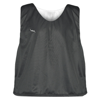 Charcoal Gray White Reversible Lacrosse Pinnies - Lax Pinnies