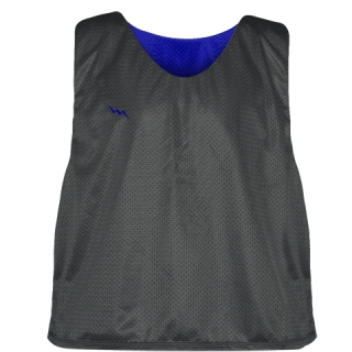 Charcoal Gray Royal Blue Reversible Lacrosse Pinnies - Lax Pinnies