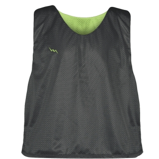 Charcoal Gray Lime Green Reversible Lacrosse Pinnies - Lax Pinnies