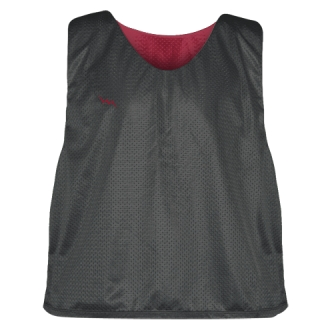 Charcoal Gray Cardinal Red  Reversible Lacrosse Pinnies - Lax Pinnies
