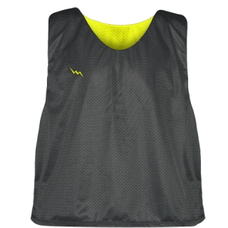 Charcoal Gray Yellow  Reversible Lacrosse Pinnies - Lax Pinnies
