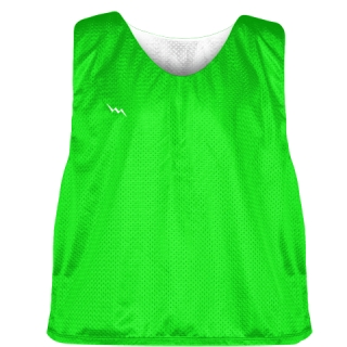 Neon Green Silver White Reversible Lacrosse Pinnies - Lax Pinnies