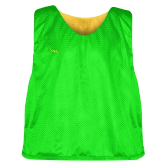 Neon Green Athletic Gold Reversible Lacrosse Pinnies - Lax Pinnies