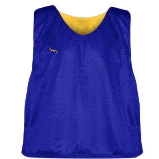 Royal Blue Athletic Gold Mesh Lacrosse Pinnies - Reversible Mesh Jersey
