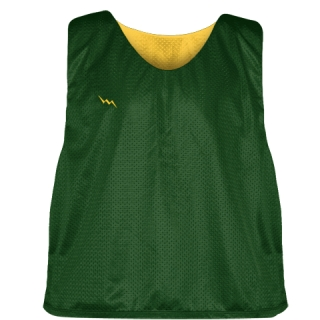 Forest Green Athletic Gold Mesh Lacrosse Pinnies - Reversible Mesh Jersey