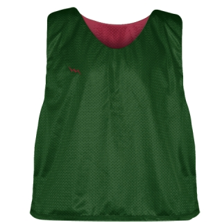 Forest Green Cardinal Red Mesh Lacrosse Pinnies - Reversible Mesh Jersey