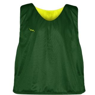 Forest Green Yellow Mesh Lacrosse Pinnies - Reversible Mesh Jersey