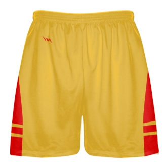 Athletic Gold Red Boys Mens Lacrosse Shorts