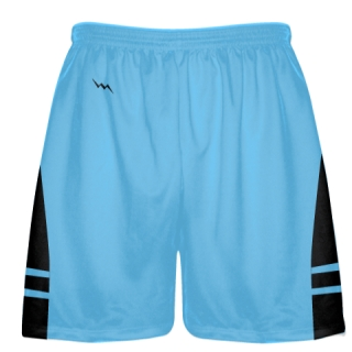 Powder Blue Black Lacrosse Shorts - Mens Boy Lacrosse Shorts