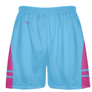 Powder Blue Hot Pink Lacrosse Shorts - Mens Boy Lacrosse Shorts