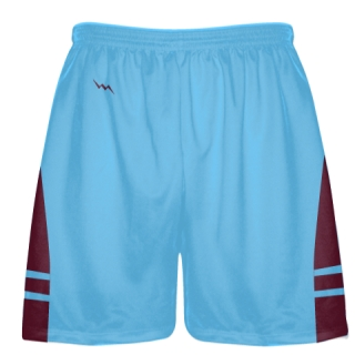 Powder Blue Maroon Lacrosse Shorts - Mens Boy Lacrosse Shorts