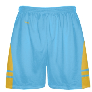 Powder Blue Athletic Gold Lacrosse Shorts - Mens Boy Lacrosse Shorts