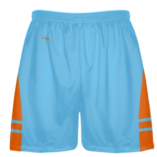 Powder Blue Orange Boys Lacrosse Shorts - Mens Lax Shorts