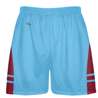 Powder Blue Cardinal Red Boys Lacrosse Shorts - Mens Lax Shorts