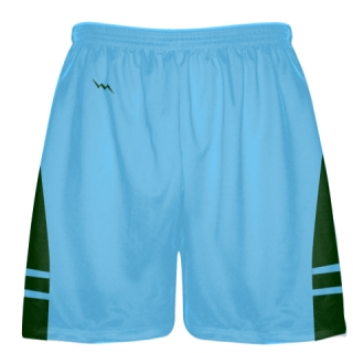 Powder Blue Forest Green Boys Lacrosse Shorts - Mens Lax Shorts