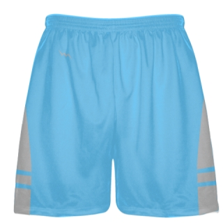 Powder Blue Silver Boys Lacrosse Shorts - Mens Lax Shorts