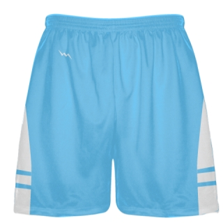 Powder Blue White Boys Lacrosse Shorts - Mens Lax Shorts