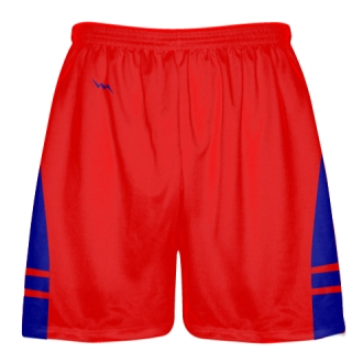 Red Royal Blue Pockets Lacrosse Shorts - Boys Mens Shorts