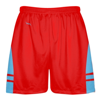 Red Powder Blue Shorts - Pockets Lacrosse Shorts - Boys Mens Shorts