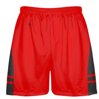 Red Dark Gray Shorts - Pockets Lacrosse Shorts - Boys Mens Shorts