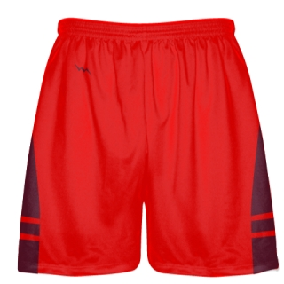 Red Maroon Shorts - Pockets Lacrosse Shorts - Boys Mens Shorts