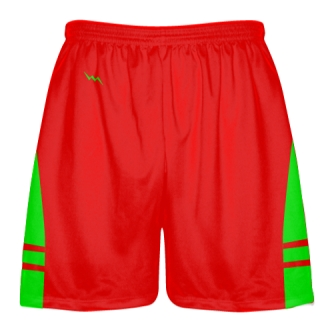 Red Neon Green Shorts - Pockets Lacrosse Shorts - Boys Mens Shorts