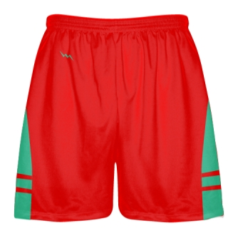 Red Teal Shorts - Pockets Lacrosse Shorts - Boys Mens Shorts