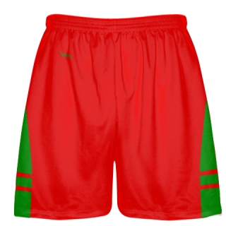 Red Kelly Green Lax Shorts - Pockets Lacrosse Shorts - Boys Mens Shorts