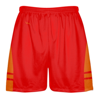 Red Orange Lax Shorts - Pockets Lacrosse Shorts - Boys Mens Shorts
