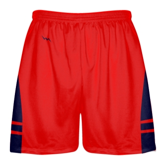 Red Navy Blue Lax Shorts - Pockets Lacrosse Shorts - Boys Mens Shorts