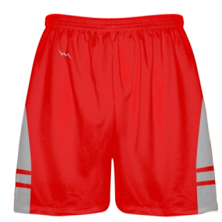 Red Silver Lax Shorts - Pockets Lacrosse Shorts - Boys Mens Shorts