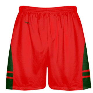 Red Forest Green Lax Shorts - Pockets Lacrosse Shorts - Boys Mens Shorts