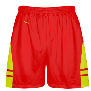 Red Yellow Boys Lacrosse Shorts - Mens Boys Lacrosse Shorts