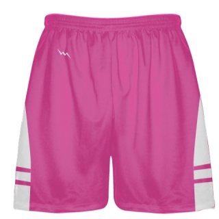Hot Pink White Lax Shorts - Boys Mens Lacrosse Shorts