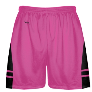 Hot Pink Black Lax Shorts - Boys Mens Lacrosse Shorts
