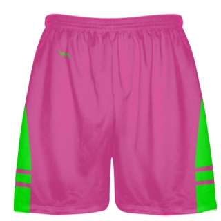 Hot Pink Neon Green Athletic Shorts - Boys Mens Lacrosse Shorts