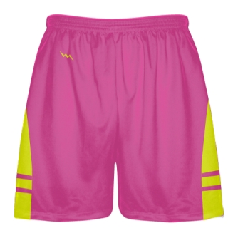 Hot Pink Yellow Athletic Shorts - Boys Mens Lacrosse Shorts