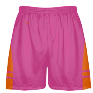 Hot Pink Orange Athletic Shorts - Boys Mens Lacrosse Shorts